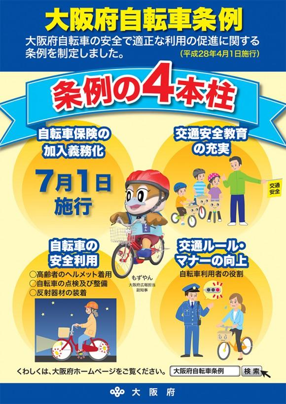 大阪府条例2016 自転車保険義務化